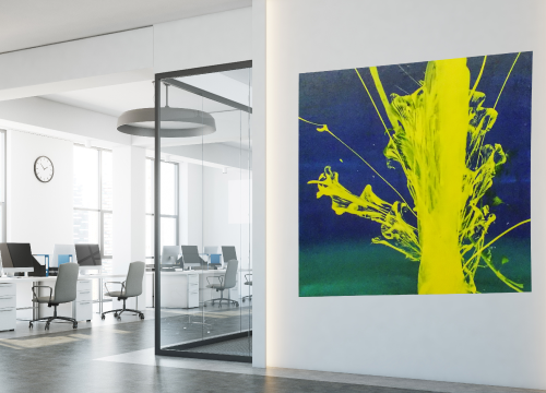 Photo of a painting hanging in an office.